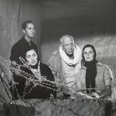 Lucien Clergue [1934-2014] Luis Dominguin, Jacqueline Rocque,  Pablo Picasso, and Lucia Bosé on the set of Testament of Orpheus, Les Baux de Provence photo 1959 [printed 2011]  gelatin silver print, edition of 30 MF, signed paper size > 16 x 20 inches
