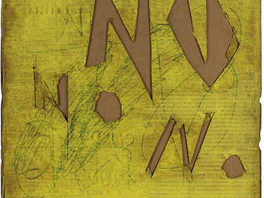 Boris Lurie (1924-2008)  Yellow NO Cutouts, 1962  paint and ink on cardboard  37 x 30 inches
