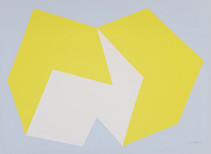 Print of two interconnected rectangular prisms, yellow and white, on light blue background
