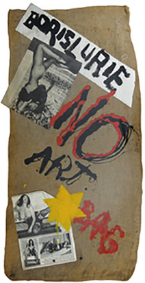 Boris Lurie (1924-2008) NO!art Bag, 1974  oil paint, canvas, and paper collage on burlap bag  40.5 x 21.25 in
