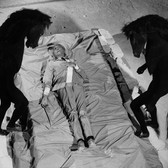 Lucien Clergue [1934-2014] Jean Cocteau, Testament of Orpheus, Les Baux de Provence photo 1959 [printed 1985] gelatin silver print, edition of 30 PF, signed paper size > 12 x 16 inches