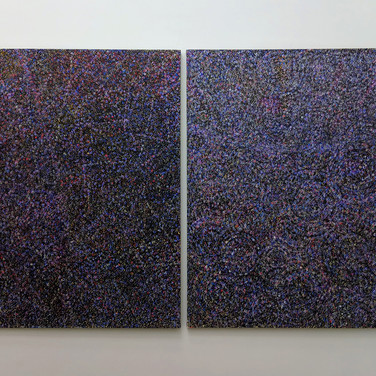 James Juthstrom (1925-2007) Universal #1 & #2, circa 1980s acrylic, mixed media, and reflective pigments on canvas 48 x 62 inches each