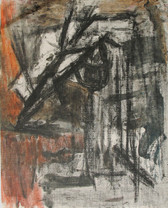 Charcoal drawing of a rough profile on a sanguine background, on textured paper