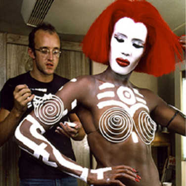 "Douglas Kirkland  Keith Haring & Grace Jones, ""Vamp"", Burbank, CA  photograph 1986 [printed later]  archival pigment print, edition of 24, signed and numbered paper size > 30 x 24 inches"