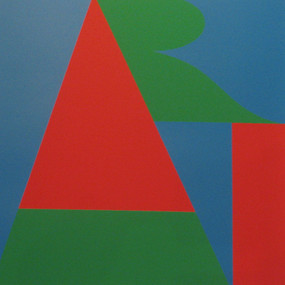 Abstract composition with red, green and blue shapes resembling letters A, R, T