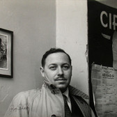 "Roy Schatt [1909-2002] Tennessee Williams Backstage at Circle in the Square during ""Summer and Smoke""  photo 1953 vintage gelatin silver print mounted on cardboad, stamped paper size > 12.5 x 16 inches © Estate of Roy Schatt"