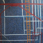 Acrylic abstract painting of white, red and yellow lines on blue background, resembling fire escapes on buildings