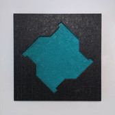 ALAN STEELE Fragment from the Gateless Barrier, 1987 marine enamel, encaustic on wood and wood inlay 60 x 60 x 4 inches