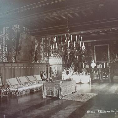 Séraphin-Médéric Mieusement (1840- 1905)  Château de Josselin Interior, circa 1880s   albumen print mounted on bookboard, inscribed, stamped  10.5 x 17 inches