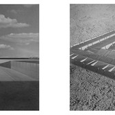 WILL INSLEY (1929-2011) /Buildings/ No. 19-20 Interior Building Corridor of Life Gate and /Building/ No. 17 Passage Space Spiral, 1970-72 vintage photomontage, 12 x 12 inches each