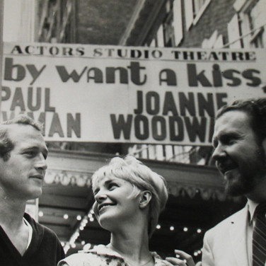 Roy Schatt [1909-2002] Paul Newman, Joanne Woodward and James Costigan in front of The Actors Studio photo 1964 vintage gelatin silver print, stamped paper size > 11 x 14 inches © Estate of Roy Schatt
