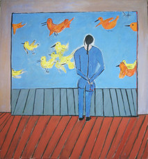 Acrylic on canvas painting of a character seen from behind, viewing a painting of birds