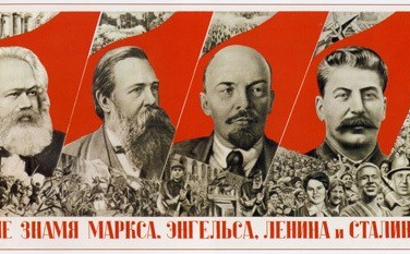 GUSTAV KLUTSIS  Rise Higher the Banner of Marx, Engels, Lenin and Stalin, 1936 Lithograph on newsprint, 7 x 12.5 inches