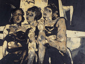 Boris Lurie (1924-2008) Untitled (Three Women #2), c.1955  collage, oil paint on masonite mounted on canvas  46.5 x 47 inches