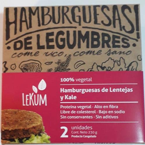 Hamburguesas Lekum Lentejas Rojas y Kale