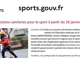 20.03-Décisions gouvernementales, mesures pour le sport à partir du 20 mars.