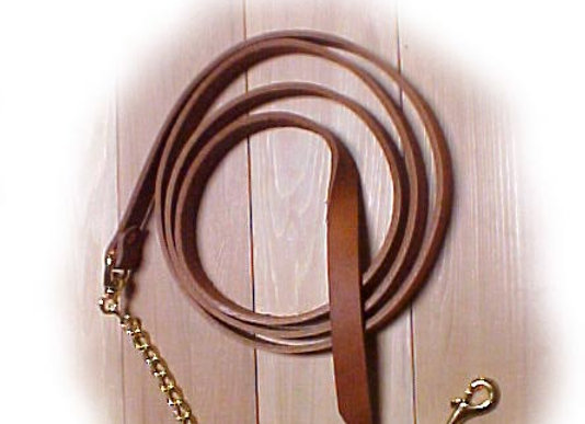 LL1 LEATHER HORSE LEAD W/CHAIN