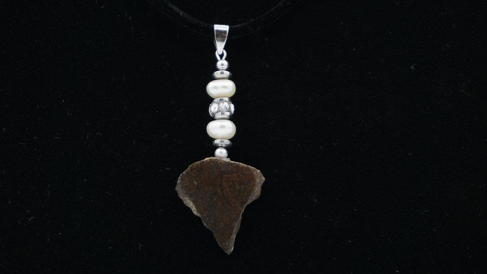 Triangular NWA 12890 Adorned with Freshwater Pearls and Swarovski Crystal