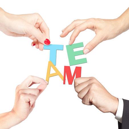 Teamwork forming the word team (teamwork