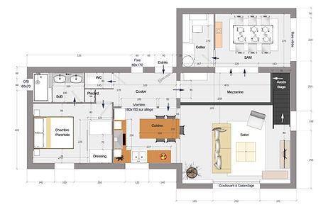 Réalisation d'un plan avec ré-aménagement de l'espace 390 €