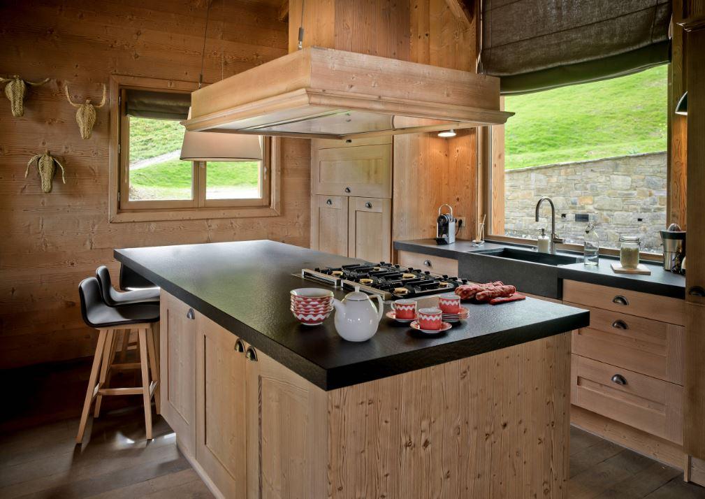 cuisine en bois style chalet