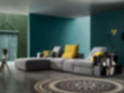 Décoration d'intérieur haut de gamme : canapé, luminaire, table, fauteuil...