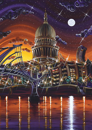 "Greetings Card - ""St Pauls Under Starlight"""