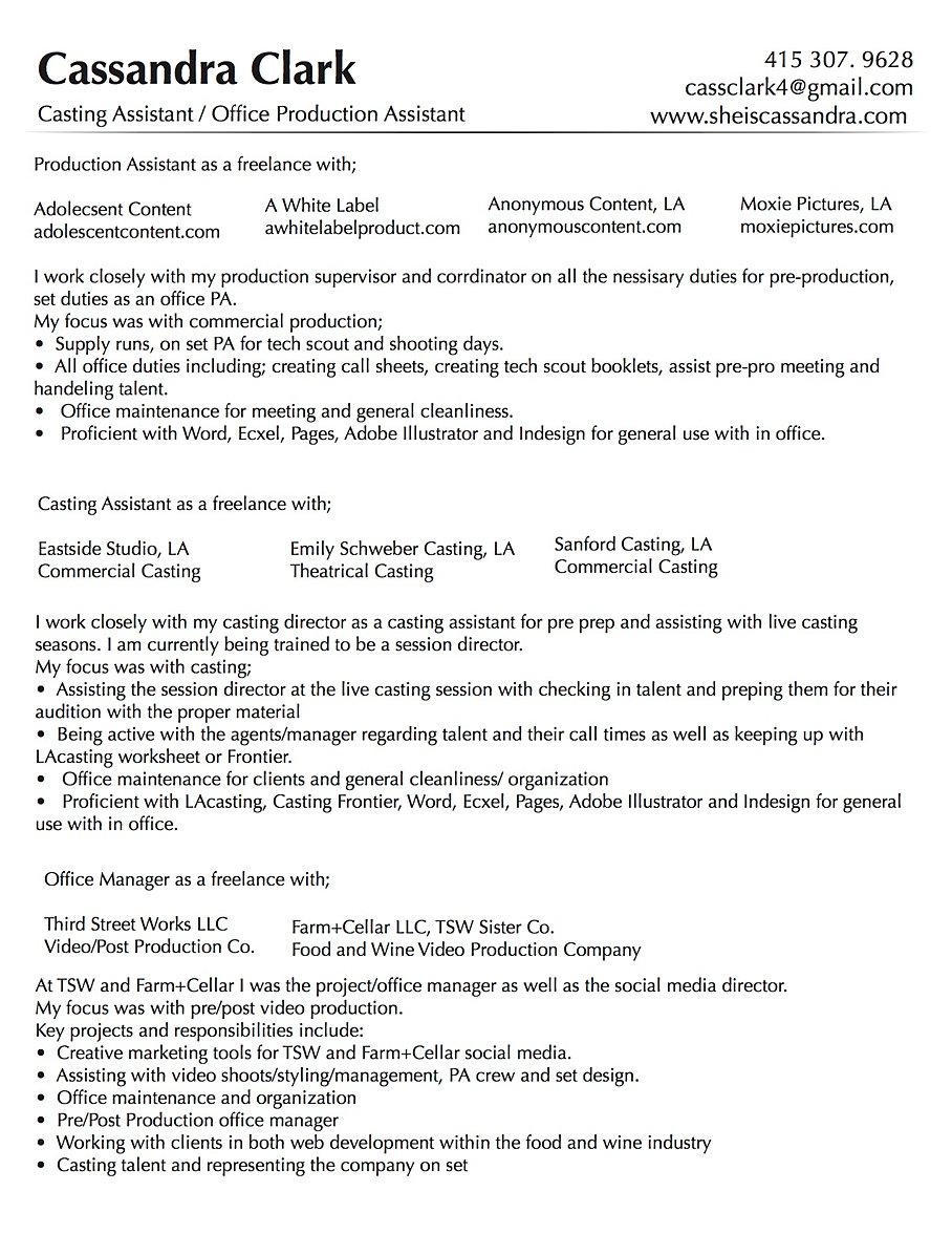 Cassandra Clark Production Resume