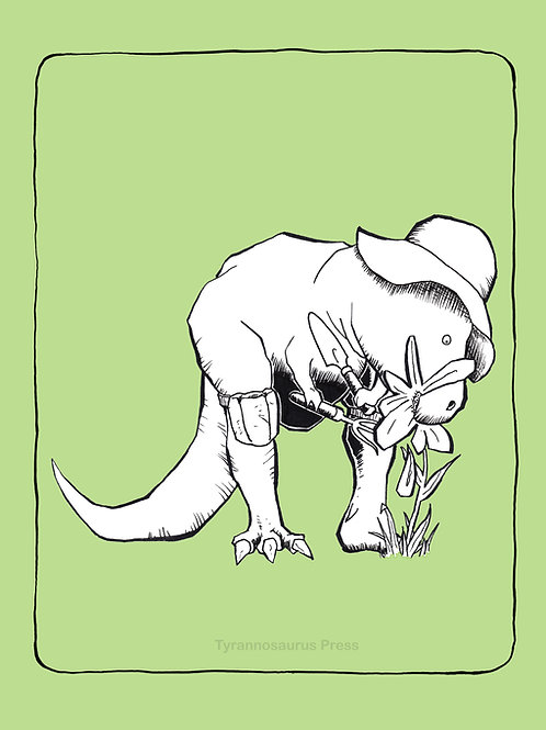 T-Rex Gardener 8x10 Print