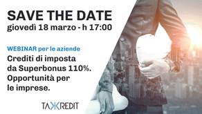 Registrazione del Webinar: Crediti di imposta da Superbonus 110%. Opportunità per le imprese
