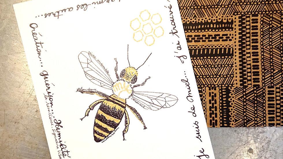 """Imprimé """"Aniere Ederra"""" l'abeille"""