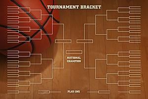 Basketball tournament bracket over image