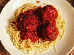 Turkey Meatballs Over Spaghetti