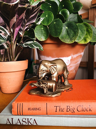 Mom and Baby Brass Elephants
