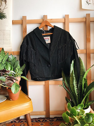 Cropped Leather Jacket with Tassels