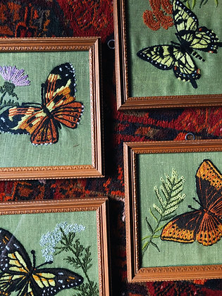 4 Embroidered Butterfly & Flowers