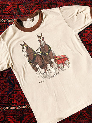 80s Budweiser Clydesdales Ringer Tee