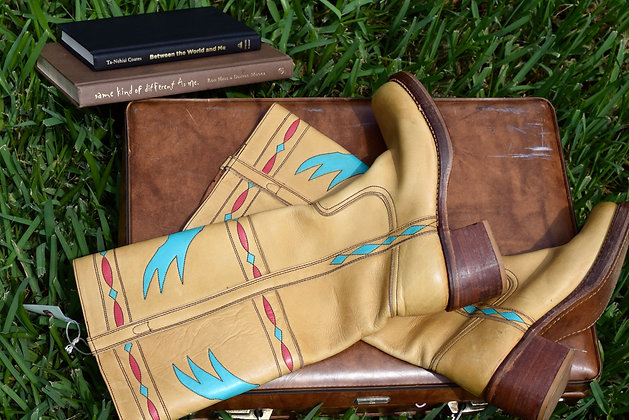 Aztec Style 70s Leather Boots