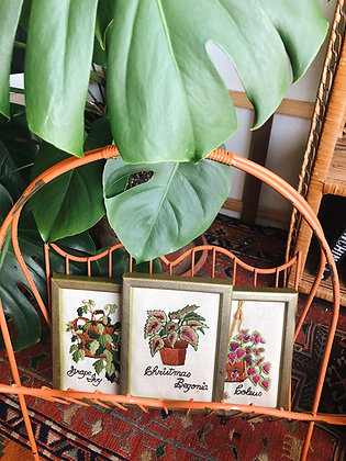 3 Embroidered Plant Artwork