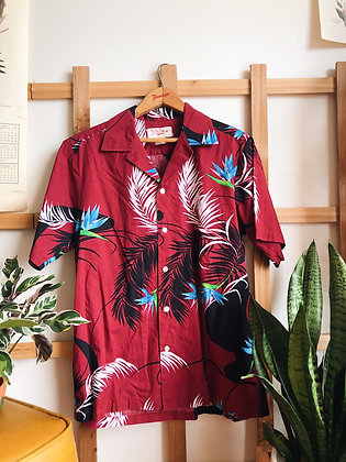 Authentic Maroon Hawaiian Button Up