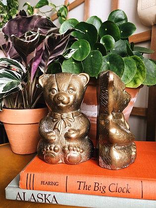 Brass Teddy Bear Bookends