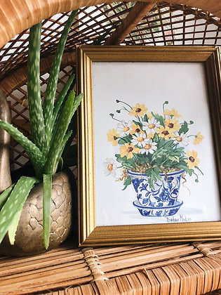 Yellow and White Flower Print