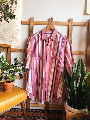 Handmade Pink striped Button Up