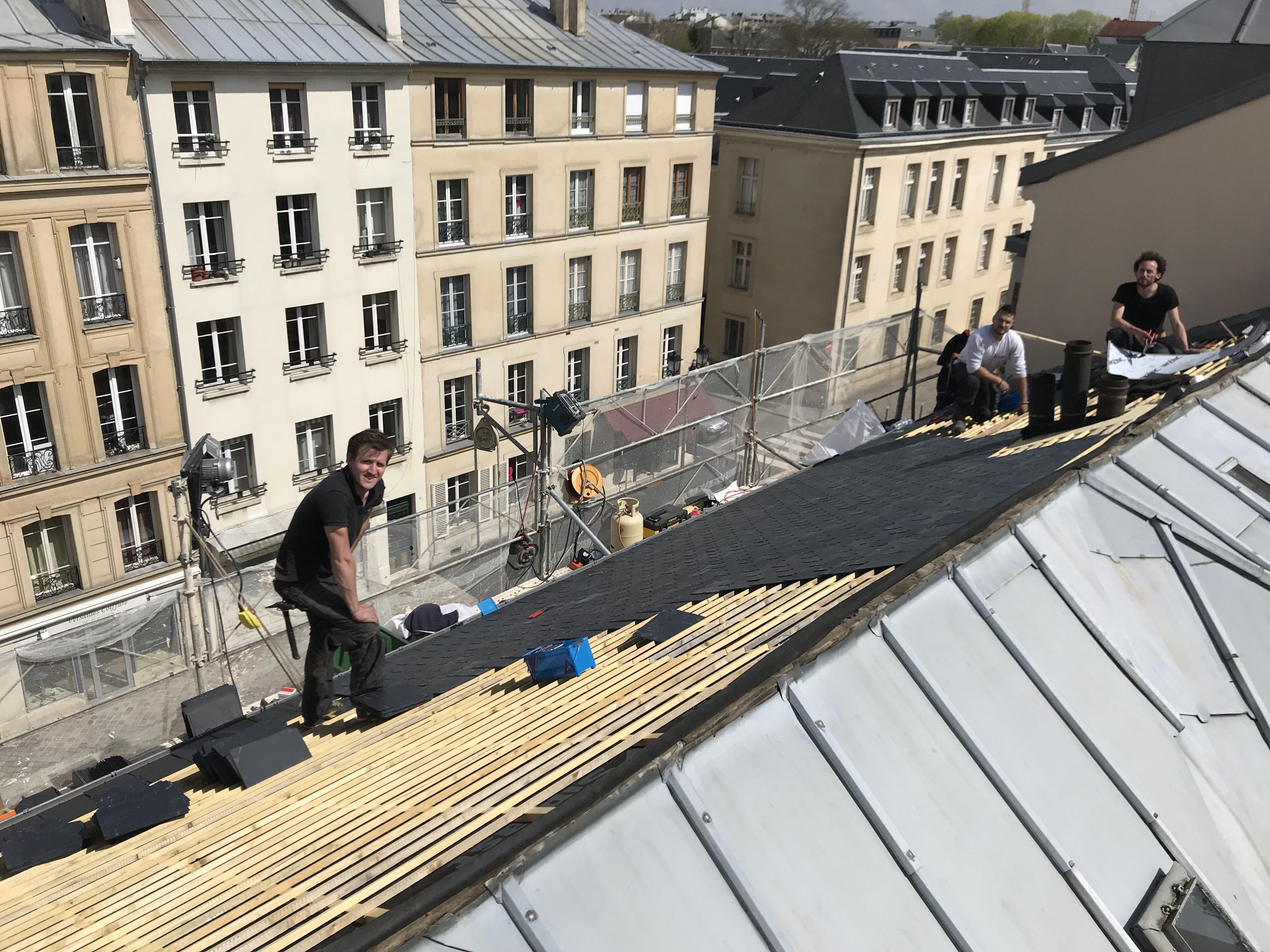 transformation d'un couverture en zinc en couverture ardoise sur Versailles