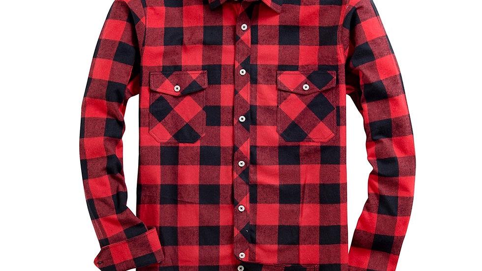 Flannel Plaid Shirt Men's Casual Long Sleeve Cotton
