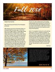 e-Newsletter Fall 2018 First Presbyteria