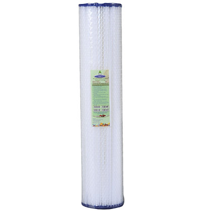 """CRYSTAL QUEST® 4-5/8"""" x 20""""  5-Micron Sediment Reusable Pleated Filter Cartridge"""