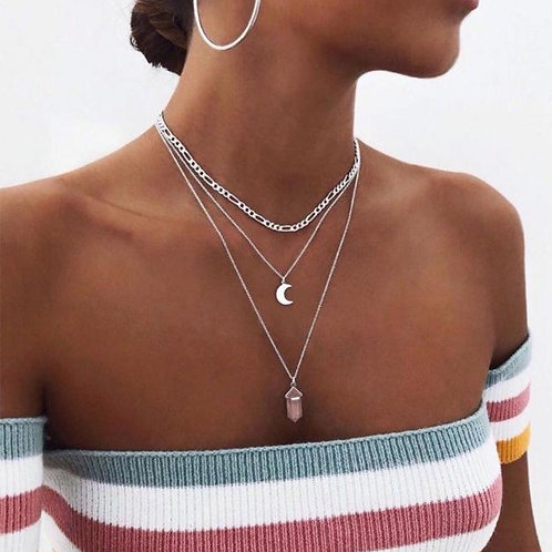 Korra Moon Geometric Gem Drop Multi-strand Necklace