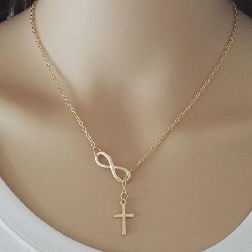 Cross Pendant Infinity Lariat Necklace