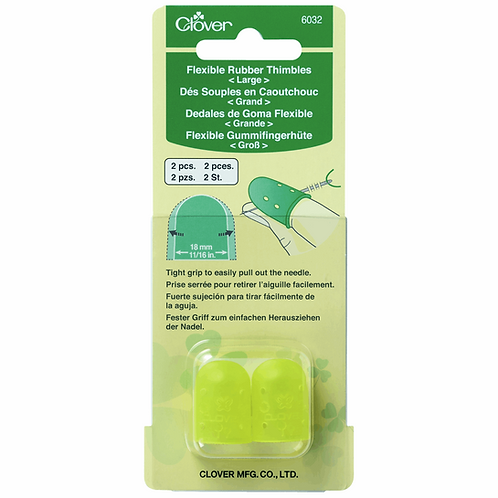 Thimbles: Flexible Rubber: Large: 2 Pieces/Clover